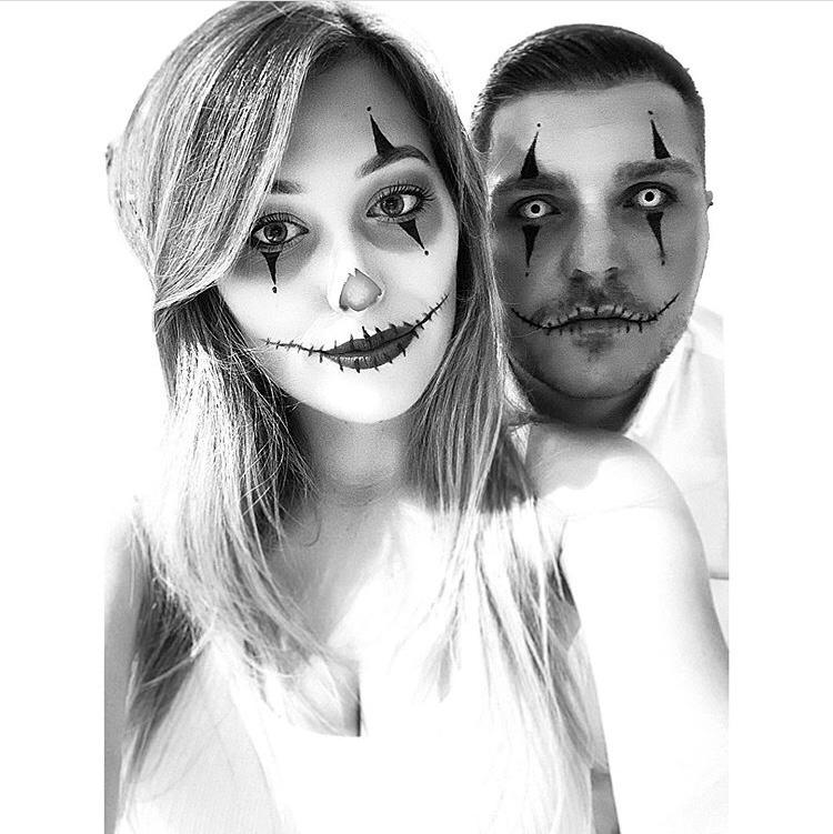 Halloween makeup black and white